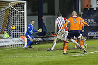Luton Town score their second goal of the game via an  own goal to make the score 2-3 during the Sky Bet League 2 match between Luton Town and Cheltenham Town at Kenilworth Road, Luton, England on 31 January 2017. Photo by David Horn / PRiME Media Images