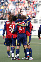 Kyle Beckerman (5), Javier Morales (11), Dema Kovalenko (21), and Carey Talley (3) of Real Salt Lake celebrate. The Chicago Fire and Real Salt Lake played to a 1-1 tie during a Major League Soccer match at Rice-Eccles Stadium in Salt Lake City, Utah on March 29, 2008.