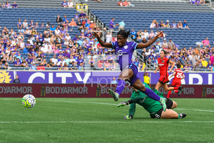 Orlando, FL - Sunday June 26, 2016: Jasmyne Spencer, Michelle Betos  during a regular season National Women's Soccer League (NWSL) match between the Orlando Pride and the Portland Thorns FC at Camping World Stadium.