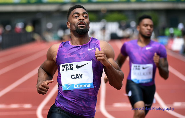 Tyson Gay of the USA wins the Men's 100 meters on the final day of the Prefontaine Classic at Hayward Field in Eugene, Oregon, USA, 30 MAY 2015. (EPA photo by Steve Dykes)