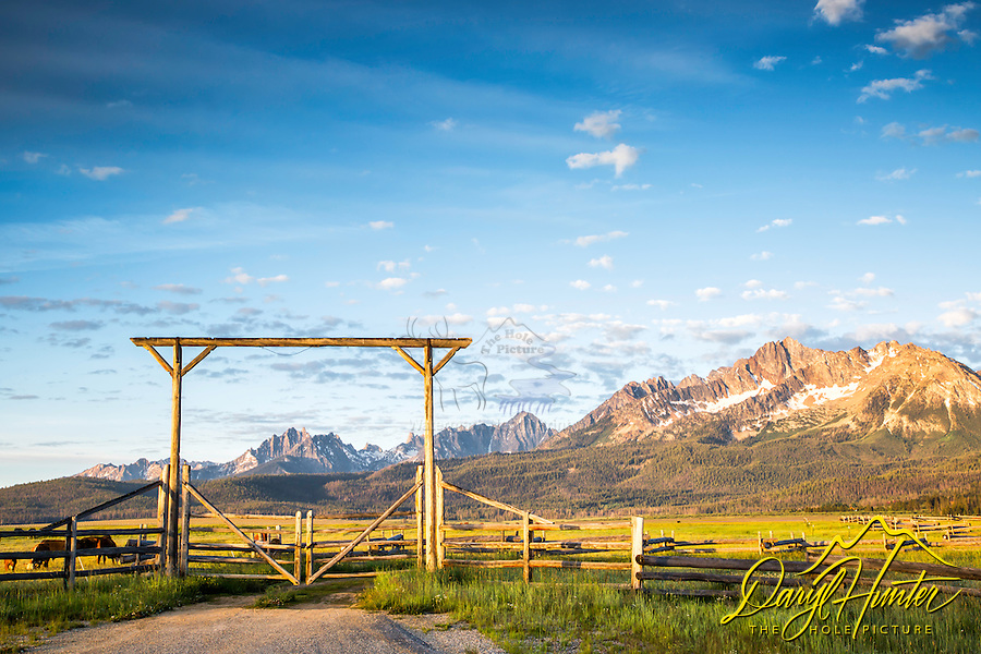 Daybreak, Ranch Gate, Sawtooth Mountains, Stanley Idaho