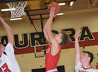 RICK PECK/SPECIAL TO MCDONALD COUNTY PRESS<br /> McDonald County's Boston Dowd hits a short jumper during the Mustangs' 48-39 win over Aurora on Jan. 4 at Aurora High School.