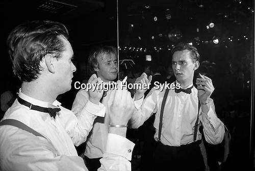 Chelsea, London. 1982<br /> Bow tied and looking cool, Narcissus at Wedgies in the Kings Road.