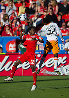 01 July 2010:  Houston Dynamo midfielder Lovel Palmer #22 and Toronto FC midfielder Amadou Sanyang #22 in action during a game between the Houston Dynamo and the Toronto FC at BMO Field in Toronto..Final score was 1-1....