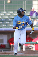 Myrtle Beach Pelicans infielder Hanser Alberto #3 at bat during a game against the Potomac Nationals at Ticketreturn.com Field at Pelicans Ballpark on April 16, 2014 in Myrtle Beach, South Carolina. Potomac defeated Myrtle Beach 7-3. (Robert Gurganus/Four Seam Images)