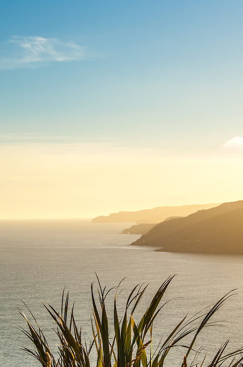 The view south from Nugget Point lighthouse, Catlins coast, Otago, South Island, New Zealand - stock photo, canvas, fine art print