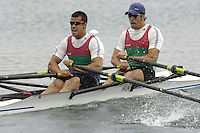 Munich, GERMANY, 2006, FISA, Rowing, World Cup, HUN M2X Bow Akos Haller and Tibor Peto,  held on the Olympic Regatta Course, Munich, Thurs. 25.05.2006. © Peter Spurrier/Intersport-images.com,  / Mobile +44 [0] 7973 819 551 / email images@intersport-images.com..[Mandatory Credit, Peter Spurier/ Intersport Images] Rowing Course, Olympic Regatta Rowing Course, Munich, GERMANY