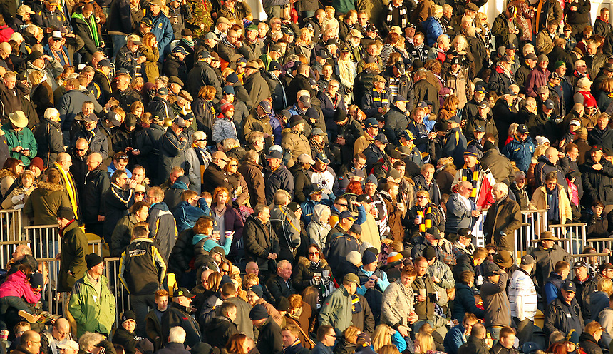 Worcester Warriors crowd enjoy the game<br /> <br /> Photographer Rachel Holborn/CameraSport<br /> <br /> Rugby Union - British and Irish Cup Quarter Final - Worcester Warriors v Pontypridd - Saturday 24th January 2015 - Sixways Stadium - Worcester<br /> <br /> &copy; CameraSport - 43 Linden Ave. Countesthorpe. Leicester. England. LE8 5PG - Tel: +44 (0) 116 277 4147 - admin@camerasport.com - www.camerasport.com