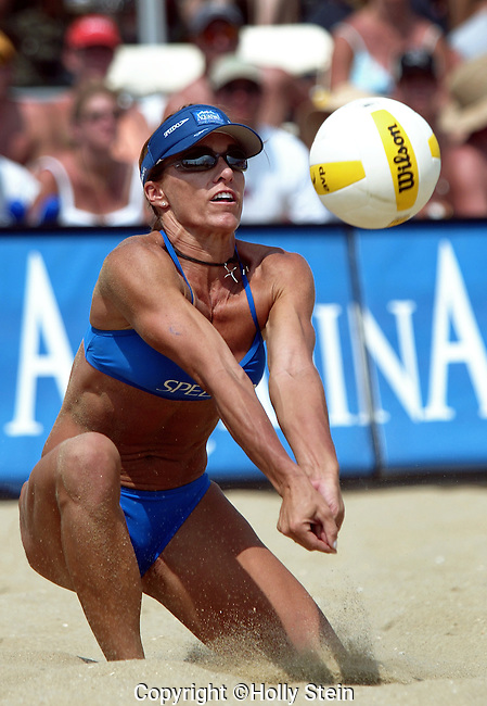 Holly McPeak digs the ball during the AVP Belmar Open women's finals.