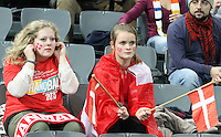 12.01.2013 Barcelona, Spain. IHF men's world championship, Quarter-Final. Picture show denmark fans   in action during game between Denmark vs Hungary at Palau ST Jordi