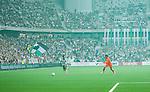 Stockholm 2014-05-24 Fotboll Superettan Hammarby IF - Varbergs BoIS FC  :  <br /> Vy &ouml;ver planen med Hammarbys supportrar p&aring; l&auml;ktarna under matchen<br /> (Foto: Kenta J&ouml;nsson) Nyckelord:  Superettan Tele2 Arena HIF Bajen Varberg BoIS inomhus interi&ouml;r interior supporter fans publik supporters