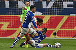 16.03.2019, VELTINS-Arena, Gelsenkirchen, GER, DFL, 1. BL, FC Schalke 04 vs RB Leipzig, DFL regulations prohibit any use of photographs as image sequences and/or quasi-video<br /> <br /> im Bild v. li. im Zweikampf Sutat Serdar (#8, FC Schalke 04) Yussuf Poulsen (#9, RB Leipzig) Benjamin Stambouli (#17, FC Schalke 04) <br /> <br /> Foto © nph/Mauelshagen