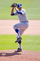Brandon Dorsett (33) of the Indiana State Sycamores winds up during a game against the Evansville Purple Aces in the 2012 Missouri Valley Conference Championship Tournament at Hammons Field on May 23, 2012 in Springfield, Missouri. (David Welker/Four Seam Images)
