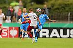 11.08.2019, Salmtalstadion, Salmrohr, GER, DFB-Pokal, 1. Runde FSV Salmrohr vs Holsteinm Kiel<br /> <br /> DFB REGULATIONS PROHIBIT ANY USE OF PHOTOGRAPHS AS IMAGE SEQUENCES AND/OR QUASI-VIDEO.<br /> <br /> im Bild / picture shows<br /> <br /> Nico KIEREN (FSV Salmrohr, #24, weiß) und David ATANGA (Holstein Kiel, #10, blau) <br /> <br /> <br /> Foto © nordphoto / Schwarz