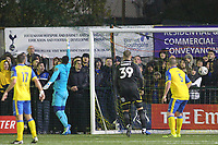 Mitch Pinnock of AFC Wimbledon scores during Haringey Borough vs AFC Wimbledon, Emirates FA Cup Football at Coles Park Stadium on 9th November 2018
