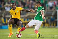 Action photo during the match Mexico vs Jamaica Corresponding to  Group -C- of the America Cup Centenary 2016 at Rose Bowl Stadium.<br /> <br /> Foto de accion durante el partido Mexico vs Jamaica, Correspondiente al Grupo -C- de la Copa America Centenario 2016 en el Estadio Rose Bowl, en la foto: (i-d) Wes Morgan de Jamaica y Jesus Manuel Corona de Mexico<br /> <br /> <br /> 09/06/2016/MEXSPORT/Jorge Martinez.