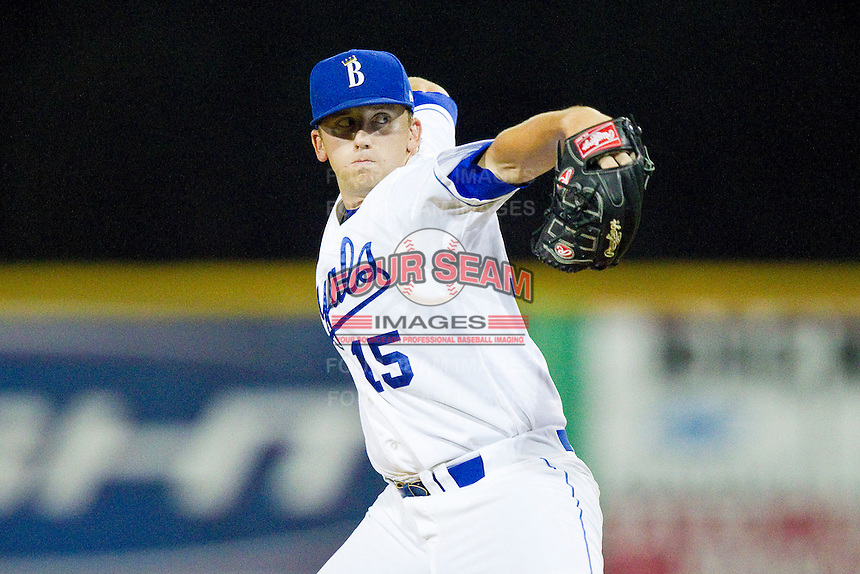 Burlington Royals relief pitcher Mark Peterson (15) in action against the Danville Braves at Burlington Athletic Park on July 18, 2012 in Burlington, North Carolina.  The Royals defeated the Braves 4-3 in 11 innings.  (Brian Westerholt/Four Seam Images)