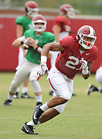 NWA Democrat-Gazette/ANDY SHUPE<br /> Arkansas running back Devwah Whaley prepares to catch a pass Tuesday, Aug. 1, 2017, during practice at the university's practice field in Fayetteville. Visit nwadg.com/photos to see more photographs from the day's practice.