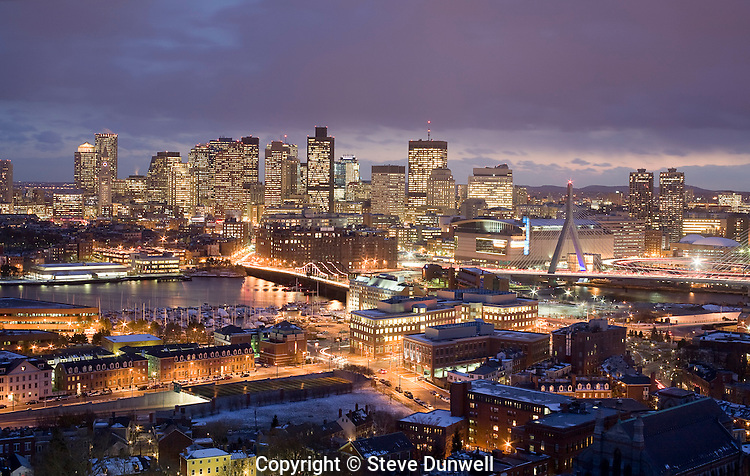 Boston winter skyline from Bunker Hill monument, Charlestown, MA