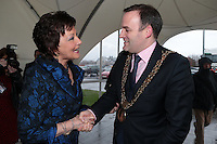 NO FEE PICTURES.25/1/13 Maureen Ledwith, Director Holiday World and Lord Mayor of Dublin is Naoise Ó Muirí at the Holiday World Show at the RDS, Dublin. Picture:Arthur Carron/Collins