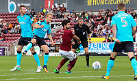 Fleetwood Town's Kyle Dempsey shoots at goal <br /> <br /> Photographer Andrew Kearns/CameraSport<br /> <br /> The EFL Sky Bet League One - Northampton Town v Fleetwood Town - Saturday August 12th 2017 - Sixfields Stadium - Northampton<br /> <br /> World Copyright &copy; 2017 CameraSport. All rights reserved. 43 Linden Ave. Countesthorpe. Leicester. England. LE8 5PG - Tel: +44 (0) 116 277 4147 - admin@camerasport.com - www.camerasport.com