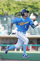 Myrtle Beach Pelicans shortstop Carlos Penalver (1) running to first base during a game against the Potomac Nationals at Ticketreturn.com Field at Pelicans Ballpark on May 23, 2015 in Myrtle Beach, South Carolina.  Myrtle Beach defeated Potomac 7-3. (Robert Gurganus/Four Seam Images)