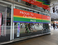 Many retail stores in the capital's shopping heartland of the West End are currently decorated in rainbow colours, supporting Pride. An annual celebration of the LGBT community, Pride culminates in the LGBT Pride parade in London, attracting many thousands of visitors to the capital, with a colourful, vibrant and eccentric procession thru the city. London July 2nd 2019<br /> <br /> Photo by Keith Mayhew
