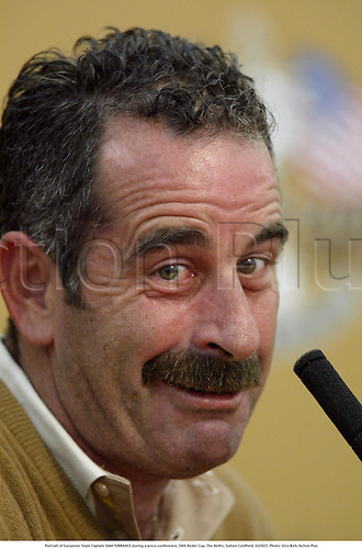 Portrait of European Team Captain SAM TORRANCE during a press conference, 34th Ryder Cup, The Belfry, Sutton Coldfield, 020925. Photo: Glyn Kirk/Action Plus...2002.cup cups trophies trophy.golf golfers golfer.portraits... .... ......