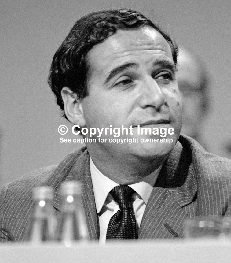 Leon Brittan, MP, Conservative Party, UK, Home Secretary, on platform at annual party conference, Brighton. 19840150LB3.<br />