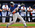 11 March 2010: Boston Red Sox second baseman Dustin Pedroia in action during a Spring Training game against the New York Mets at Tradition Field in Port St. Lucie, Florida. The Red Sox defeated the Mets 8-2 in Grapefruit League action. Mandatory Credit: Ed Wolfstein Photo