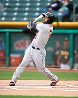 Andrew Aplin (2) of the Fresno Grizzlies follows through on his swing against the Salt Lake Bees during the Pacific Coast League game at Smith's Ballpark on April 17, 2017 in Salt Lake City, Utah. The Bees defeated the Grizzlies 6-2. (Stephen Smith/Four Seam Images)