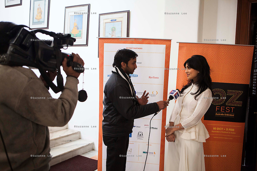 Pallavi Sharda (OzFest ambassador) (right) gives an interview to a media channel after a press conference on Oz Fest in Raj Mahal Palace hotel, Jaipur, India on 10th January 2013. Photo by Suzanne Lee/DFAT