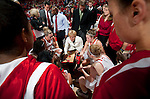 Wisconsin Badgers head ocach Lisa Stone talks to her team during a timeout during an NCAA college women's basketball game against the Duke Blue Devils during the ACC/Big Ten Challenge at the Kohl Center in Madison, Wisconsin on December 2, 2010. Duke won 59-51. (Photo by David Stluka)