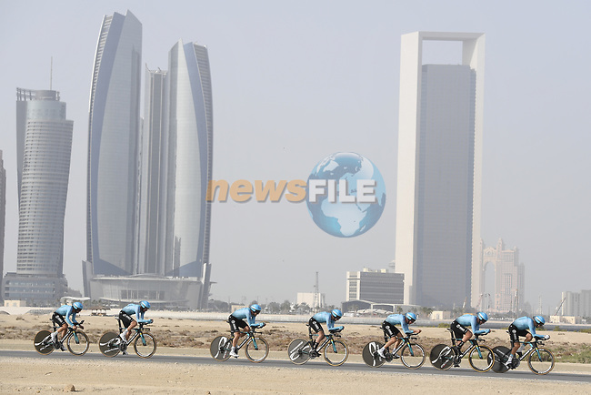 Astana Pro Team motor along during Stage 1 of the 2019 UAE Tour, a team time trial running 16km around Al Hudayriat Island, Abu Dhabi, United Arab Emirates. 24th February 2019.<br /> Picture: LaPresse/Fabio Ferrari | Cyclefile<br /> <br /> <br /> All photos usage must carry mandatory copyright credit (© Cyclefile | LaPresse/Fabio Ferrari)
