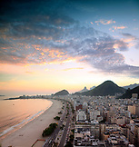 BRAZIL, Rio de Janiero, a view of Copacabana Beach at dusk