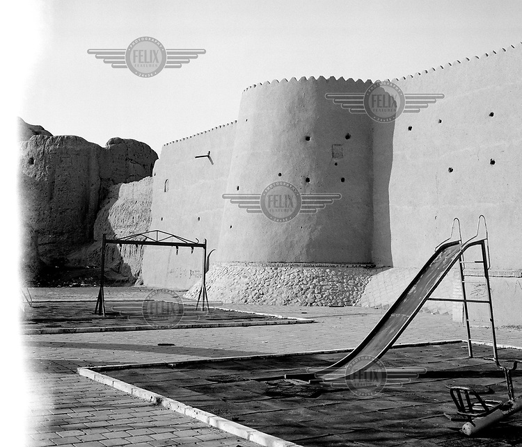 A child's playground outside the walls of the Kashan fortress.