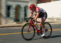 NWA Democrat-Gazette/BEN GOFF @NWABENGOFF<br /> Cyclists compete in the women's Pro category 1/2/3 race Saturday, July 7, 2018, during The Natural State Criterium Series in downtown Rogers. The third annual series produced by BikeNWA began with races in downtown Bentonville Friday evening. The series concludes Sunday in downtown Springdale with the first event starting at 8:50 a.m. and the final event starting at 4:00 p.m. A criterium is a type of bicycle race where riders lap a short, closed circuit on downtown city streets.