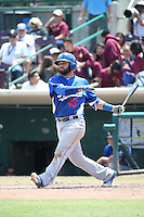 Julian Leon (43) of the Inland Empire 66ers bats against the Rancho Cucamonga Quakes at San Manuel Stadium on April 27, 2016 in San Bernardino, California. Rancho Cucamonga defeated Inland Empire, 2-1. (Larry Goren/Four Seam Images)