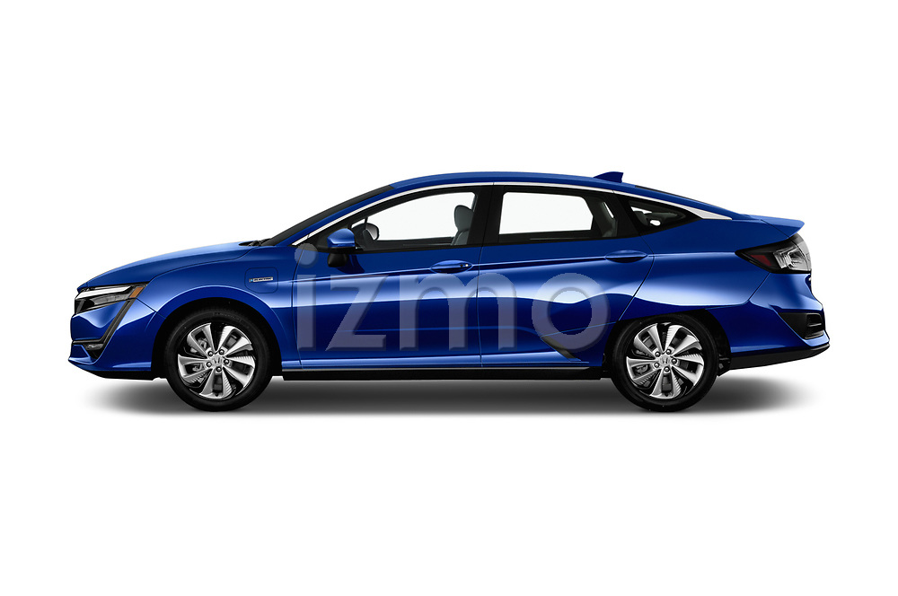 Car driver side profile view of a 2017 Honda Clarity Electric 5 Door Hatchback