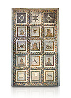 Picture of a Roman mosaics design depicting Dionysus, God of wine, surrounded by women's busts representing the Four Seasons, from the ancient Roman city of Thysdrus. 3rd century AD. El Djem Archaeological Museum, El Djem, Tunisia. Against a white background