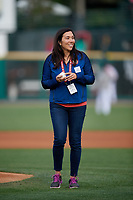 U.S. Olympic Fencer Iris Zimmermann throws out the ceremonial first pitch before a Rochester Red Wings International League game against the Scranton/Wilkes-Barre RailRiders on June 24, 2019 at Frontier Field in Rochester, New York.  Rochester defeated Scranton 8-6.  (Mike Janes/Four Seam Images)