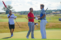 Xander Schauffele (USA) and Bernd Wiesberger (AUT) shake hands on 18 following Sunday's round 4 of the 117th U.S. Open, at Erin Hills, Erin, Wisconsin. 6/18/2017.<br /> Picture: Golffile | Ken Murray<br /> <br /> <br /> All photo usage must carry mandatory copyright credit (&copy; Golffile | Ken Murray)