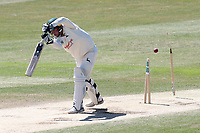 Matt Milnes of Notts is bowled out by Matt Quinn during Essex CCC vs Nottinghamshire CCC, Specsavers County Championship Division 1 Cricket at The Cloudfm County Ground on 22nd June 2018