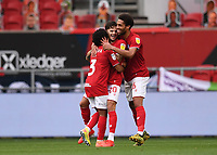 8th July 2020; Ashton Gate Stadium, Bristol, England; English Football League Championship Football, Bristol City versus Hull City; Jamie Paterson of Bristol City celebrates with his team on scoring in 54th minute 2-0