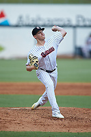 Birmingham Barons relief pitcher Hunter Schryver (23) in action against the Pensacola Blue Wahoos at Regions Field on July 7, 2019 in Birmingham, Alabama. The Barons defeated the Blue Wahoos 6-5 in 10 innings. (Brian Westerholt/Four Seam Images)