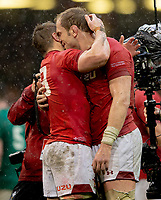 Wales' Jonathan Davies and Wales' Alun Wyn Jones congratulate each other at the final whistle<br /> <br /> <br /> Photographer Bob Bradford/CameraSport<br /> <br /> Guinness Six Nations Championship - Wales v Ireland - Saturday 16th March 2019 - Principality Stadium - Cardiff<br /> <br /> World Copyright © 2019 CameraSport. All rights reserved. 43 Linden Ave. Countesthorpe. Leicester. England. LE8 5PG - Tel: +44 (0) 116 277 4147 - admin@camerasport.com - www.camerasport.com