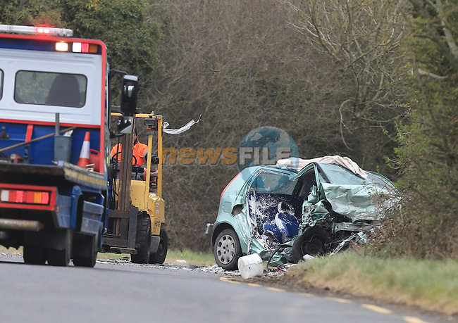 The scene of a fatal RTC on the Drogheda to Dunleer road about 3 KM from Dunleer on the Old main road.  The two vehicle colission between a Fiat Punto  and Ford Mondeo,  one female casualty in her mid thirties was removed to Our Lady of Lourdes Hospital in Drogheda with serious injuries. A number of Ambulance were sent to the scene and Drogheda Fire service with Dunleer and Ardee fire Appliences attended the scene..Picture: Fran Caffrey www.newsfile.ie.