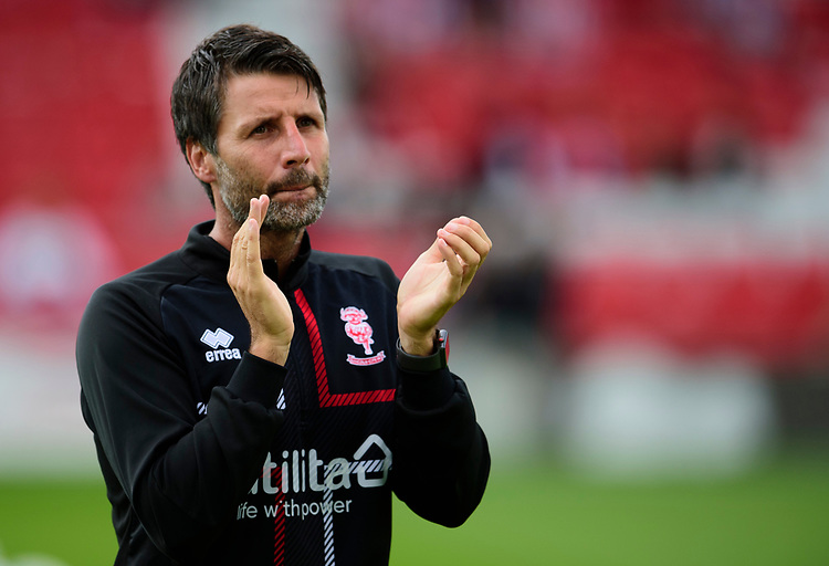 Lincoln City manager Danny Cowley during the pre-match warm-up<br /> <br /> Photographer Andrew Vaughan/CameraSport<br /> <br /> The EFL Sky Bet League One - Lincoln City v Fleetwood Town - Saturday 31st August 2019 - Sincil Bank - Lincoln<br /> <br /> World Copyright © 2019 CameraSport. All rights reserved. 43 Linden Ave. Countesthorpe. Leicester. England. LE8 5PG - Tel: +44 (0) 116 277 4147 - admin@camerasport.com - www.camerasport.com