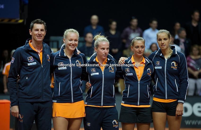 Arena Loire,  Trélazé,  France, 16 April, 2016, Semifinal FedCup, France-Netherlands, Team presentation, Dutch team<br /> Photo: Henk Koster/Tennisimages