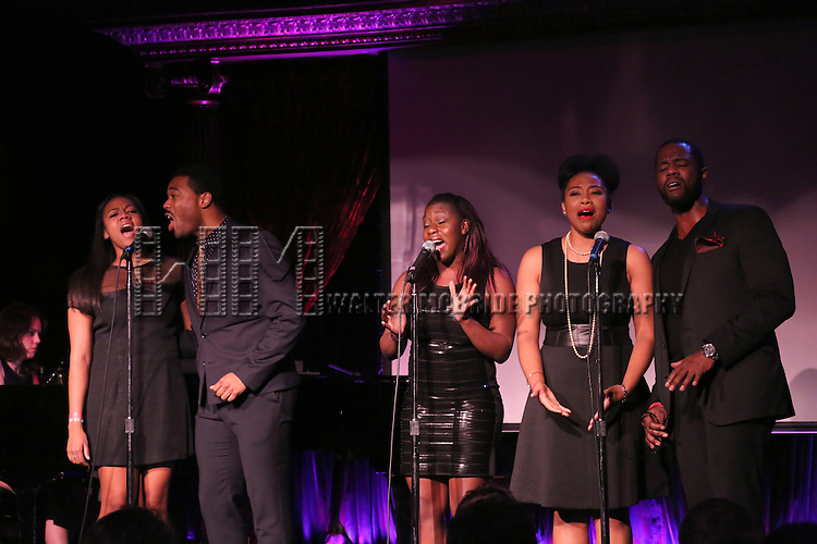 'The Color Purple' cast: Phoenix Best, Grasan Kingsberry, Joaquina Kalukango, Bre Jackson and Akron Watson performing at The Lilly Awards Broadway Cabaret'   at The Cutting Room on November 9, 2015 in New York City.